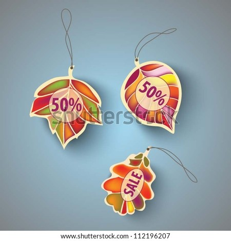 autumn labels. Vector. - stock vector