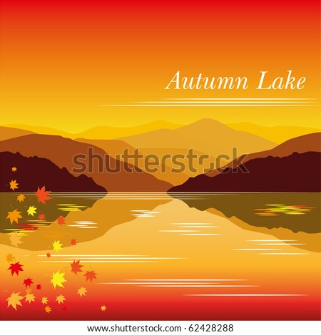 autumn lake vector background