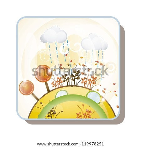 Autumn landscape, all the seasons, vector illustration