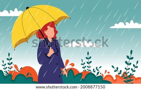 autumn landscape city woman