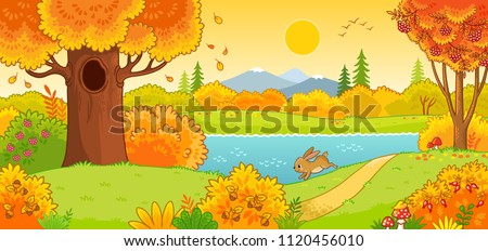 Autumn landscape. Cute hare running through the autumn forest. Vector illustration with an animal in a cartoon style. #1120456010