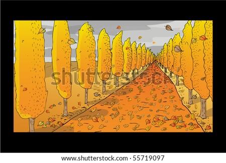 Autumn Landscape Drawing Autumn Landscape Illustration