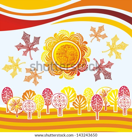 Autumn landscape leaves forest trees pattern background sun vector illustration