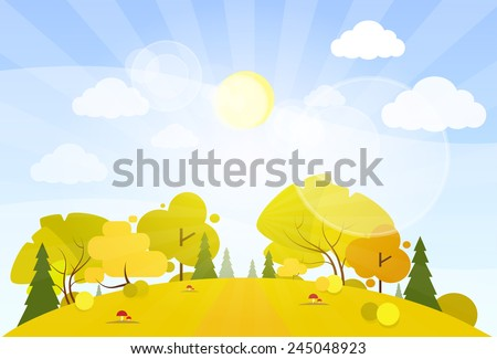 autumn landscape mountain forest road blue cloud sky with sun tree woods flat design vector illustration