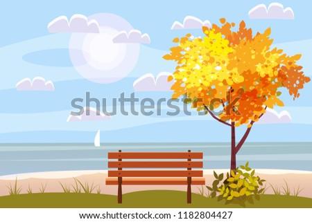 autumn landscape on the sea