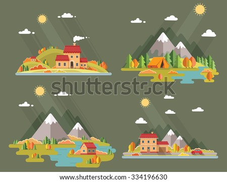 autumn landscape set of rural