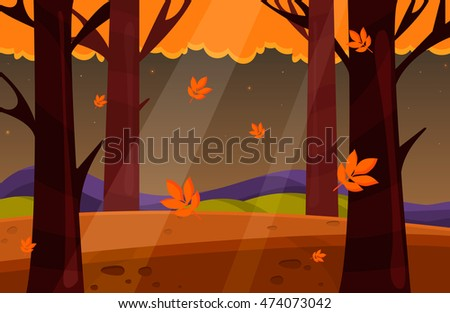 autumn landscape vectornature