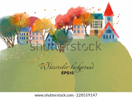 autumn landscape watercolor