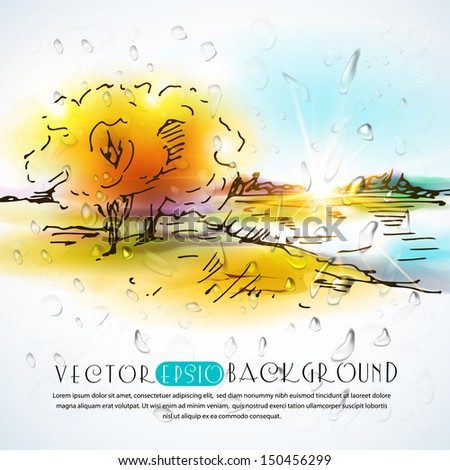 Autumn landscape with rain drops.The illustration contains transparency and effects. EPS10