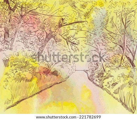 autumn landscape with road