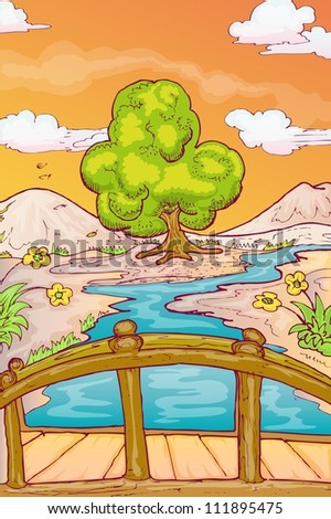 Autumn landscape with single tree and bridge over the river in hand draw style