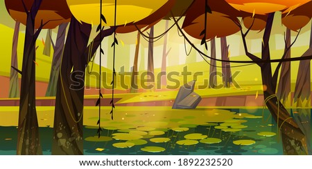 Autumn landscape with swamp in forest. Vector cartoon illustration of pond with water lilies, trees with yellow foliage, green grass and stone. Natural park, garden or wood with lake at fall Foto d'archivio ©