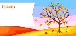 Autumn landscape with tree and yellow leaves. Seasonal illustration.