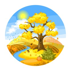 Autumn landscape with trees, mountains and hills. Seasonal nature illustration.