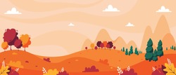 Autumn landscape with trees, mountains, fields, leaves. Countryside landscape. Autumn background. Vector illustration in flat style.