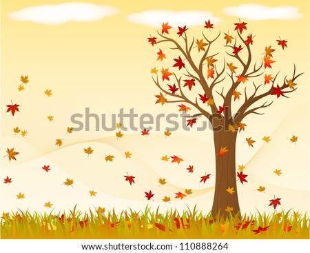 autumn landscape with wind and