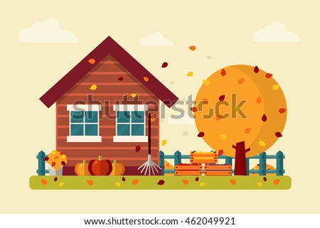 autumn landscape with wooden