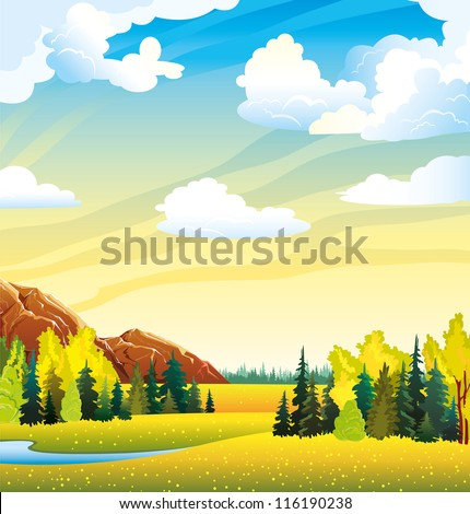 Autumn landscape with yellow meadow, forest, mountain and lake on a cloudy sky