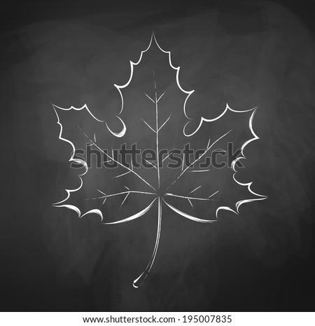 autumn leaf chalkboard drawing