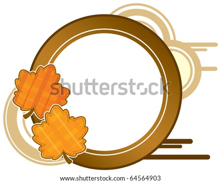 Autumn leaf frame.  Cool Vector Scrapbook Style. Graphic design elements.