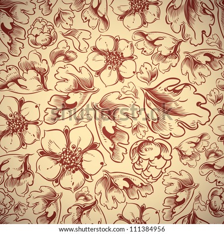 Autumn leaves and flowers seamless pattern, vector background.