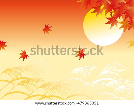 autumn leaves and full moon