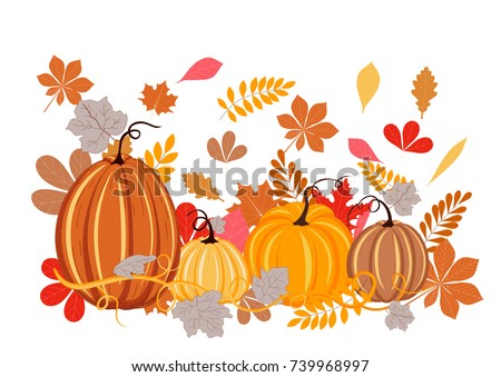 Autumn leaves and pumpkins on white background. Autumn background, red, orange, yellow and brown colors.