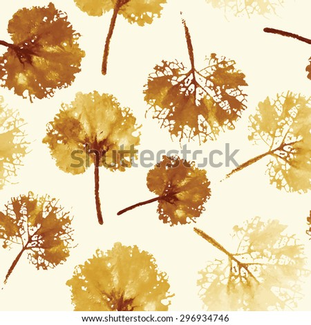 autumn leaves background. crazy beautiful imprint watercolor pattern of leaves. handmade painted. beautiful seamless texture background imprint.