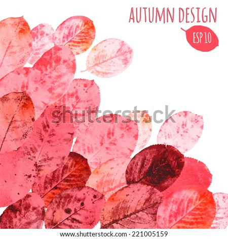 Autumn leaves bright background pink and red Vector illustration