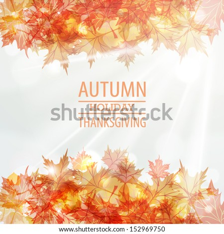 Autumn leaves frame vector design. Thanksgiving Day