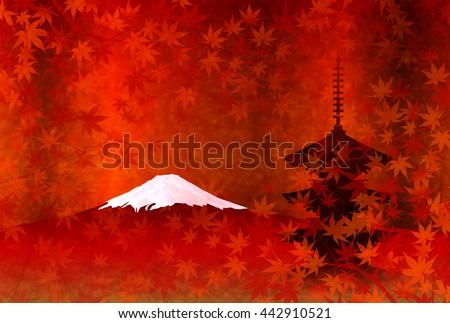 autumn leaves fuji landscape