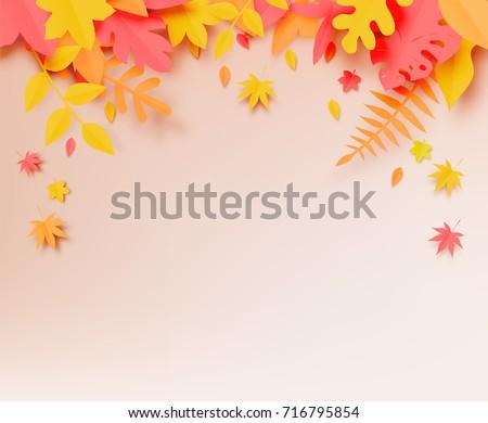 autumn leaves paper cut style