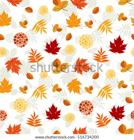Autumn leaves pattern. Colorful leaves of maple, aspen and rowan with red berries. Seamless ornament. Fall season theme. Vector illustration.