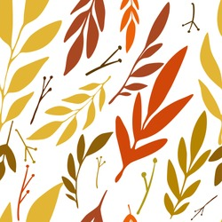 Autumn leaves pattern on the white background. Vector illustration.