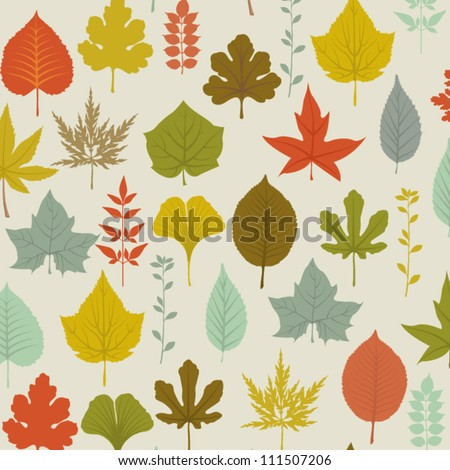 Autumn Leaves Pattern - seamless pattern with colorful fall leaves on a neutral background, including maple, oak, birch, beech, walnut and hazel tree leaves