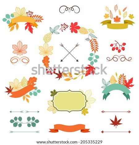 autumn leaves set of wreath