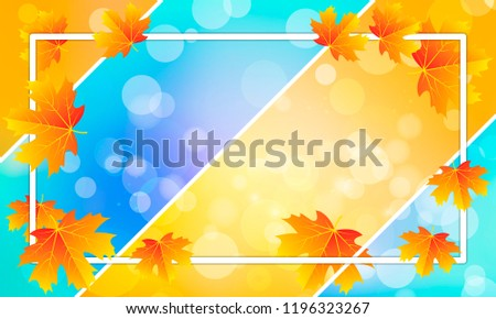 autumn leaves with white frame