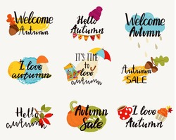 Autumn logos, tags, labels. Hand drawn set of elements for autumn party, sale, holiday. Vector illustration.