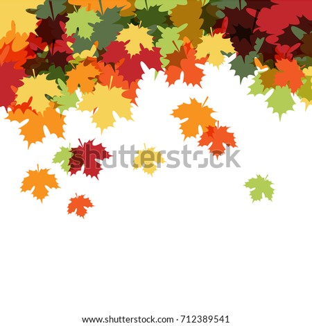 Autumn Maple Leaf Fall Background. Vector Illustration. Flat Style. Autumn Design Collection, Poster, Banner, Card, Flayer