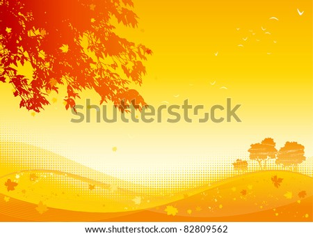 Autumn maple leaves. Vector background of  maple leaves at autumn landscape.