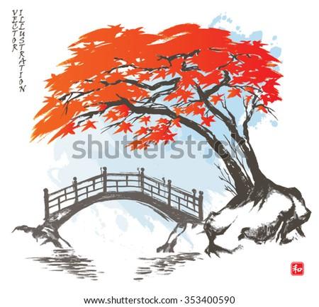 autumn maple tree and bridge