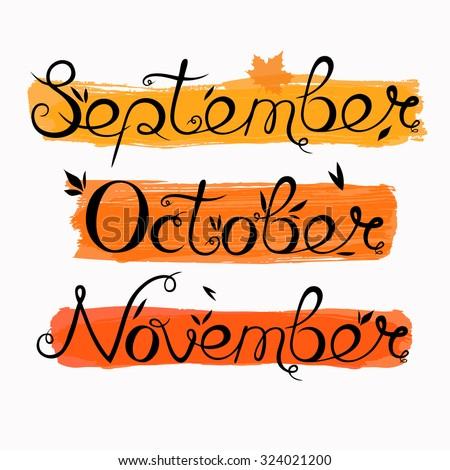 autumn months hand written in calligraphy september october