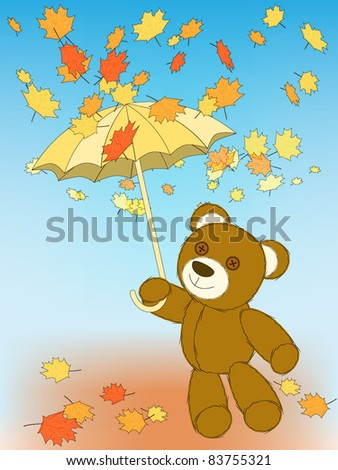 Autumn mood - cute toy bear with umbrella