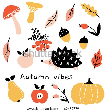 Autumn mood. Fall season doodle set of cute cartoon characters and elements. Hand drawn collection with pumpkin, hedgehog, fruits, leaves, berries and mushrooms. Cute cozy colorful object for design