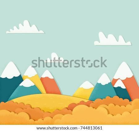 Autumn mountain landscape. Noise texture. Vector illustration