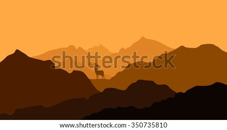 Autumn, mountain landscape, valley, aerial perspective - the deer away. The festive mood Golden palette, fall colors. Illustration.