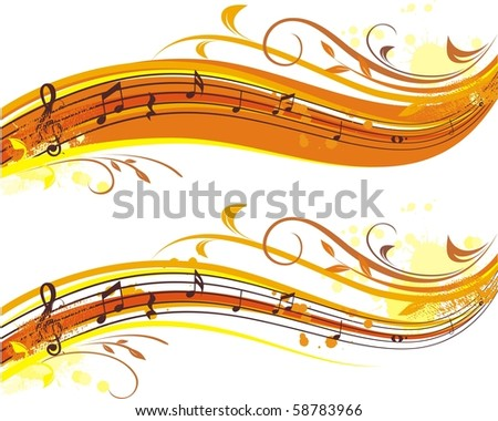 autumn musical banner,two variants for yor choice - stock vector
