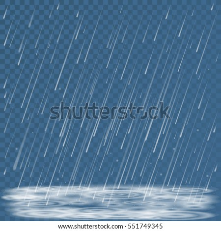 Autumn nature cold storm weather abstract background. Falling rain shower, splashes and puddles vector illustration. Cold falling rainy weather backdrop