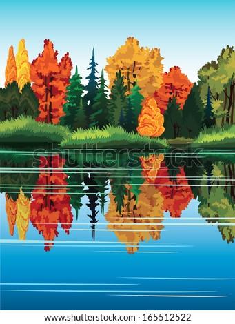 autumn nature landscape with