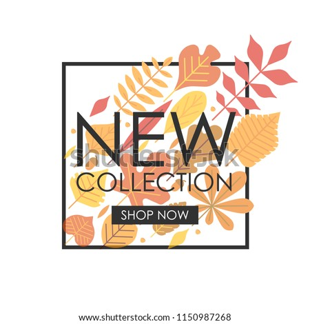 "Autumn new collection banner. Advertising template with autumn leaves composition, square linear frame, text and ""shop now"" button for online shop. Promotion, sale header mock up."